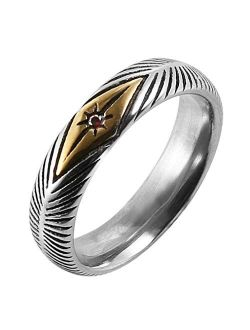 5mm Vintage Stainless Steel Silver Gold Plated Wedding Engagement Rings Ruby Anniversary Promise Rings