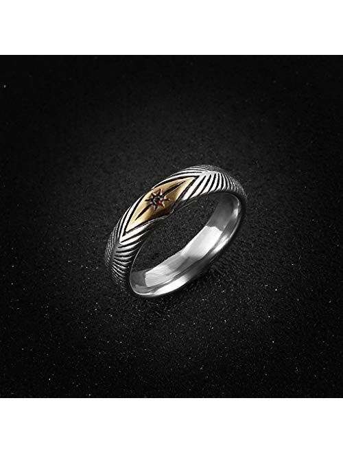 HZMAN 5mm Vintage Stainless Steel Silver Gold Plated Wedding Engagement Rings Ruby Anniversary Promise Rings