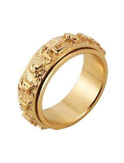 Men's Women's Tibetan Buddhist Mantra Om Mani Padme Hum 8mm Stainless Steel Spinner Ring Wedding Band