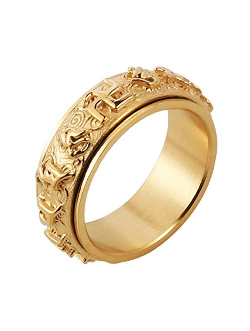 HZMAN Men's Women's Tibetan Buddhist Mantra Om Mani Padme Hum 8MM Stainless Steel Spinner Ring Wedding Band