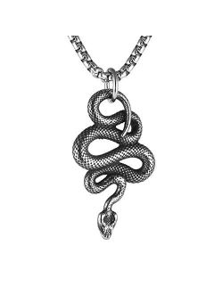 Gothic Jewelry Men's Stainless Steel Animal Snake Pendant Chain Necklace