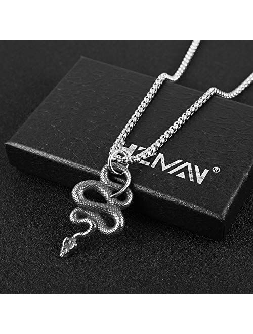 HZMAN Gothic Jewelry Men's Stainless Steel Animal Snake Pendant Chain Necklace