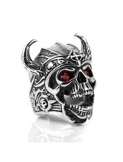 Men's Stainless Steel Ruby Eyes Skull Cross Ring Knights Templar Helmet Warrior Ring