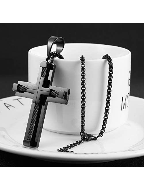 HZMAN Men's Steel Cable Inlay Large Stainless Steel Gentleman Double layer splice Cross Necklace Pendant 22 + 2 Inch Chain