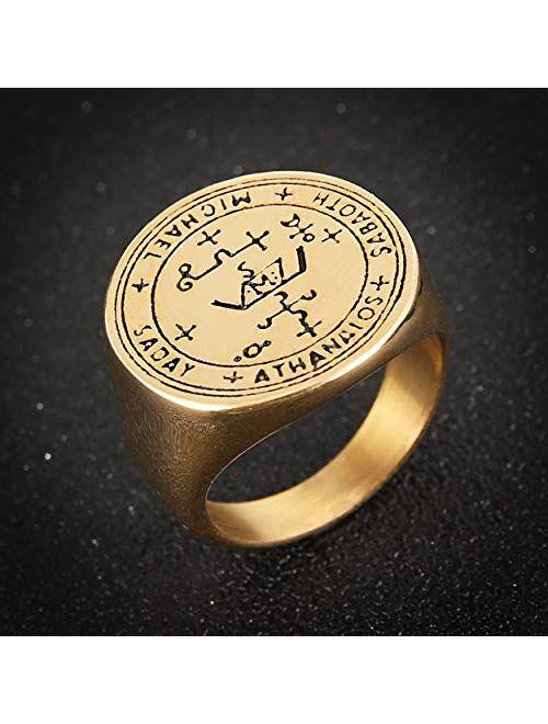 HZMAN Stainless Steel Sigil of Guardian Archangel Michael Talisman Ring