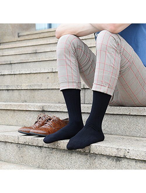 JOYNEE JOYNÉE Mens Crew Dress Socks 4 Pack Patterned Cotton for Casual,Business