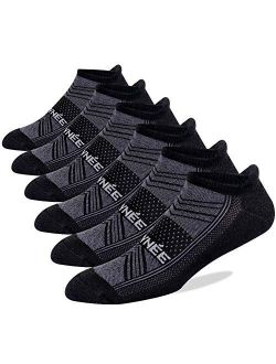 JOYNÉE Men's 6 Pack Athletic Low Cut Ankle Running Tab Socks Performance Cushioned