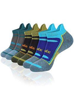 JOYNÉE 6 Pack Mens Athletic Low Cut Tab Socks Sports Ankle Socks for Running,Workout,Training