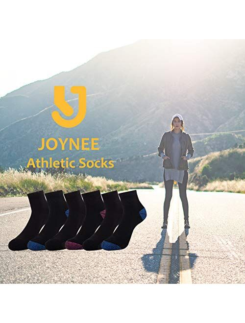 JOYNEE Ankle Socks Women Low Cut Athletic Running with Cushion for Sports and Casual Use 6-Pairs Pack
