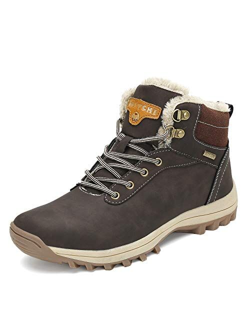 Mishansha Mens Womens Winter Anti-Slip Leather Snow Boots Water Resistant Shoes Warm Lined