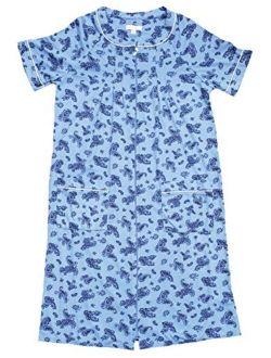 Paisley Blue Birch Long Zip Front Robe