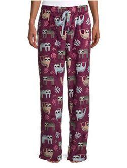 Sloth Print Wine Fusion Superminky Fleece Sleep Pajama Pants