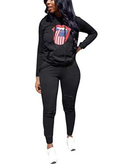 KUBAO Women 2 Pieces Outfit Solid Color Sweatsuit Long Sleeve Hoodie Long Pants Tracksuit