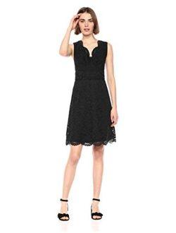 And - Lark & Ro Women's Sleeveless V-neck Lace Crossover Detail Dress