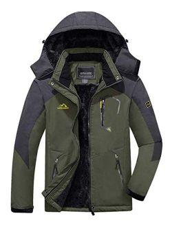 FASKUNOIE Men's Winter Coats Windproof Warm Fleece Ski Snowboarding Jackets Parka with Zipper Pockets