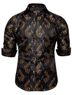 DiBanGu Mens Shirt, Paisley Floral Dress Shirt Long Sleeve with Collar Pin Brooch