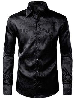 Men's Shiny Satin Rose Floral Jacquard Long Sleeve Button Up Dress Shirts For Party Prom