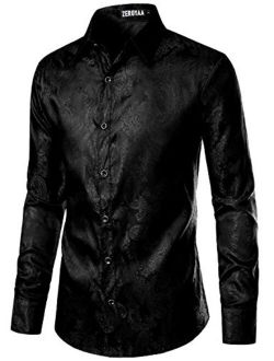 Men's Paisley Jacquard Slim Fit Long Sleeve Button Up Dress Shirt For Party Prom