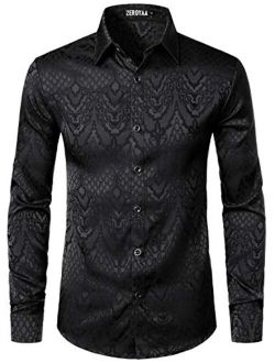 Men's Hipster Design Slim Fit Long Sleeve Jacquard Button Up Dress Shirts For Party Prom