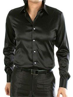 MIOUBEILA Men's Regular-Fit Satin Dress Shirt