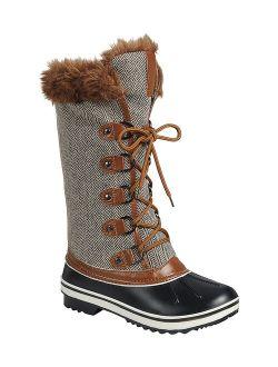 Tan Chevron Faux Fur-Trim Value Duck Snow Boot - Women