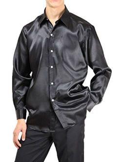 Wonder Stage Men's Satin Silk Like Shirts Regular Fit Long Sleeve Dance Prom Dress Shirts