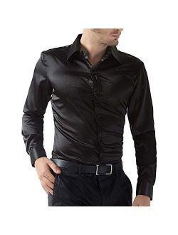 Mens Regular Shiny Silk Like Satin Shirts Slim Long Sleeve Button Down Tuxedo Shirts