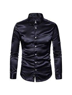 YFFUSHI Men's Shiny Silk Like Satin Dress Shirts Slim Fit Button Down Tuxedo Shirts