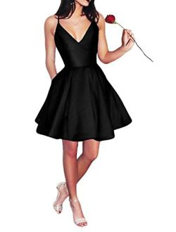 Yangprom GECOUN Short Spaghetti Straps V-Neck A-line Homecoming Dress with Pockets