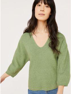 Women's 3/4-sleeve V-neck Sweater