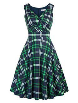 Women's Sleeveless V-neck Wrap Cocktail Dress Vintage Floral A-line Dress