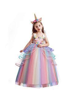 TTYAOVO Princess Girl Dress Long Tulle Gown Flower Girls Unicorn Costume