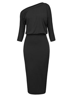 Women's Sexy One Shoulder Hips-wrapped Bodycon Party Pencil Dress