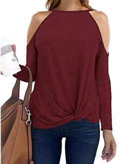 Sarin Mathews Womens Halter Neck Tops Cut Out Shoulder Shirts Casual Tunic Long Sleeve Twist Knot Blouses
