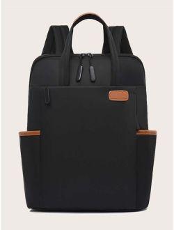 PU Patch Large Capacity Laptop Bag