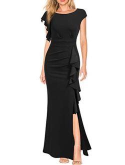 WOOSEA Women's Split Bodycon Mermaid Evening Cocktail Long Dress