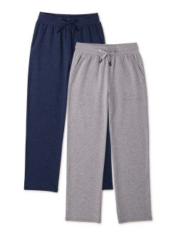 Boys Jersey Knit Open Bottom Sweatpants, 2-pack, Sizes 4-18 & Husky