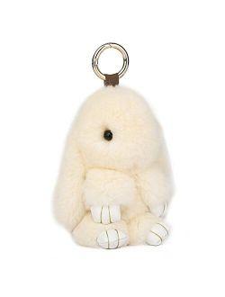 CHMIING Bunny Keychain Soft Cute Rex Rabbit Fur Keychain Car Handbag Keyring
