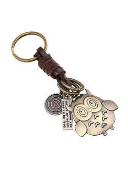 Creative Cute Detachable DIY Handmade Owl Retro Alloy Weave Genuine Leather Car Key Chain Keychain for Women Men