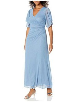 Women's Asymmetrical Butterfly Sleeve Shirred Surplus Bodice Gown With Slit