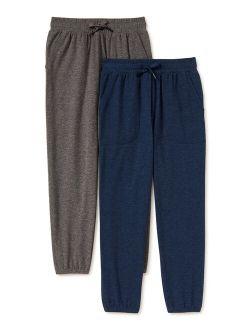 Boys Jersey Knit Jogger 2-pack Sweatpants, Sizes 4-18 & Husky