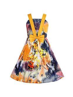 Sunny Fashion Girls Dress Tank Bow Tie Sundress Summer Beach Floral Size 6-12