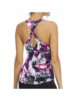 Aonour Workout Tops for Women Built in Bra Tank Tops for Women Cross Back Yoga Tops Slim Fit Gym Clothes for Women