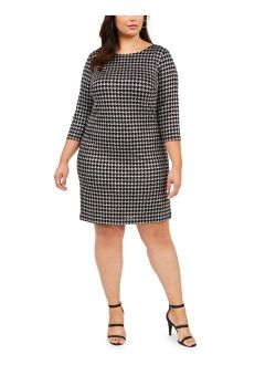 Womens Silver Glitter Zippered Houndstooth 3/4 Sleeve Jewel Neck Above The Knee Sheath Party Dress  Size 16w