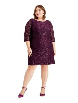 Womens Purple Sequined Lace Zippered 3/4 Sleeve Jewel Neck Above The Knee Sheath Party Dress  Size 20w