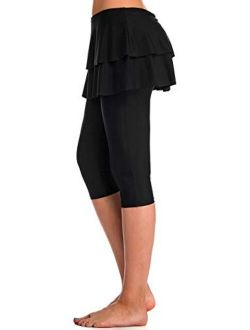 Labelar Skirted Swim Capris Women Layered Ruffle Swimming Skirt with Leggings Pants