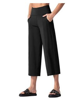 THE GYM PEOPLE Bootleg Yoga Capris Pants for Women Tummy Control High Waist Workout Flare Crop Pants with Pockets