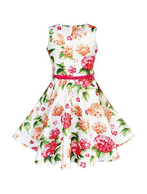 Sunny Fashion Girls Dress Navy Blue Flower Belt Vintage Party Size 6-14