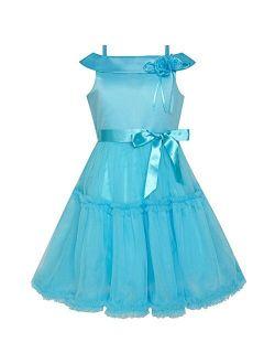 Flower Girls Dress Off Shoulder Blue Wedding Pageant Size 4-10