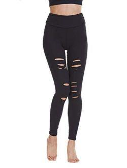 Baihetu Women's High Waist Yoga Pants Cutout Ripped Super Soft and Comfortable Skinny Leggings